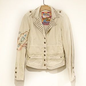 Biya for Johnny Was Embroidered Motorcycle Jacket